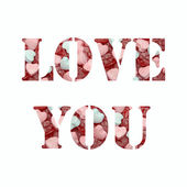 Text love you with candy background — Stock Photo