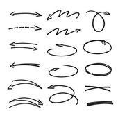Set of black hand drawn arrows signs and highlighting elements — Stock Vector