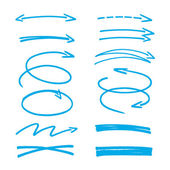 Set of blue hand drawn arrows signs and highlighting elements — Stock Vector