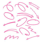 Pink hand drawn arrows signs and highlighting elements — Stock Vector