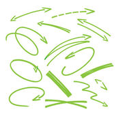 Set of green hand drawn arrows signs and highlighting elements — Stock Vector