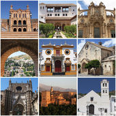 Set of photos of famous andalusian landmarks, Spain — Stock Photo