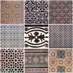 Set of traditional spanish ceramic tiles — Stock Photo