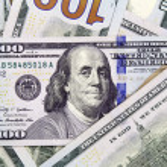 Closeup of hundred american dollars banknotes — Stock Photo #51310541