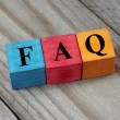 Concept of FAQ word on wooden colorful cubes — Stock Photo #51655813