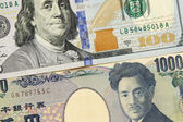 Closeup of american dollar and yen- concept of currency exchange — Foto de Stock
