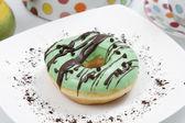 Green Chocolate Donuts — Stock Photo