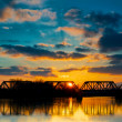 Sunset Railroad Bridge — Stock Photo