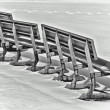 Snow benches — Stockfoto