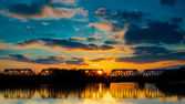 Sunset Railroad Bridge — Stock fotografie