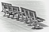 Snow benches — Stock Photo