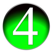 Number four glassy button — Stock Photo