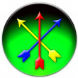 Crossed coloured arrows icon — Stock Photo