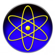 Yellow atom symbol button - Stock Photo