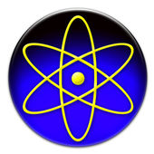 Yellow atom symbol button — Stock Photo