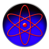 Red atom symbol icon — Stock Photo