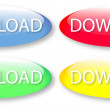 Glassy download buttons - Stock Vector