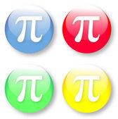 Mathematics PI vector icons set — Stock Vector