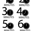 Stok Vektör: Clocks counting minutes vector set