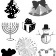 Stock Vector: Winter Holidays Vector Clipart Set