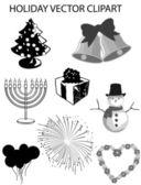 Winter Holidays Vector Clipart Set — Stock Vector