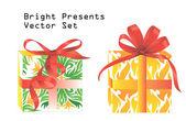 Bright presents vector set — Stock Vector