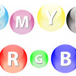 Stock Vector: RGB and CMYK Spheres