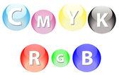 RGB and CMYK Spheres — Vector de stock