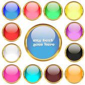 Glossy buttons in golden rings vector set — Stockvektor