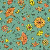 Patrón sin costuras abstracta elegancia con flores y pájaros — Vector de stock