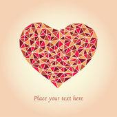 Tarjeta romántica con mosaico corazón y lugar para el texto. — Vector de stock