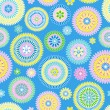 Seamless retro flower pattern on blue background — Stock Vector #15690253
