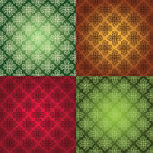 Set of four damask seamless background with hearts. — Vetor de Stock