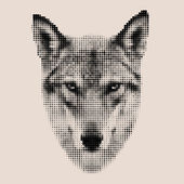 Retro style mosaic portrait of a wolf. The mask, isolated on light background. — Vector de stock