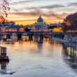 Stock Photo: Sunset over the Vatican City