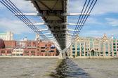 The Millennium Bridge against St Paul Cathedral, London, UK — Stock Photo