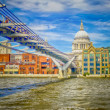 Stock Photo: Millennium Bridge against St Paul Cathedral, London, UK