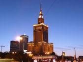 Palace of Culture and Science at dusk, Warsaw, Poland — Stock Photo
