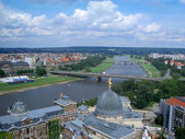 Panoramic view of Dresden and Elbe River, Germany — Stock Photo