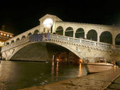 View of the Rialto Bridge at night, Venice, Italy — Stock Photo