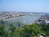 Panoramic view of Budapest and the Danube River, Hungary — Zdjęcie stockowe
