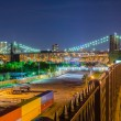 Manhattan Skyline and Brooklyn Bridge at Night — Stock Photo