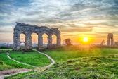 Park of the Aqueducts at Sunset, Rome — Stock Photo