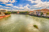 View Over Adige River in Verona, Italy — Stock Photo