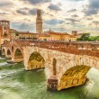 Ancient Roman Bridge called Ponte di Pietra in Verona — Stock Photo #48427641