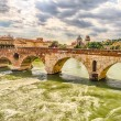 Ancient Roman Bridge called Ponte di Pietra in Verona — Stock Photo #48431167