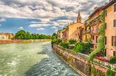 View Over Adige River in Verona, Italy — Stock Photo