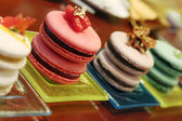 Flavored assorted sweet french macarons — Stock Photo