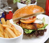 Chicken cajun burger with fresh salad and french fries — Stock Photo