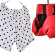Boxer short with polka dots and red gloves isolated in white — Stock Photo